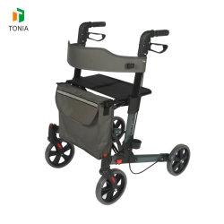 Medical ligero de aluminio portátil Plegado doble ejercicio de las 4 ruedas Rollator caminador para adultos Tra03