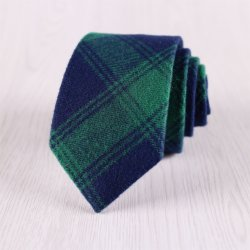 Comprueba el algodón tejida corbata verde