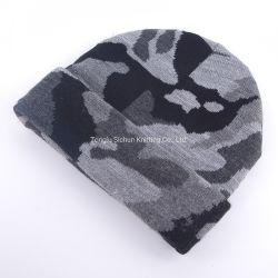 Les hommes d'hiver personnalisé en usine de tricot jacquard acrylique ébouriffé Hat