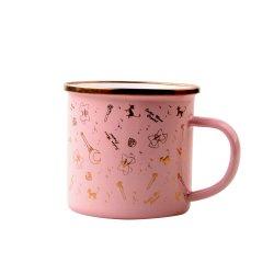 8cm de llanta de acero inoxidable de color rosa lindo esmalte impresión personalizada Metales Acero Taza Juego de utensilios de cocina al aire libre