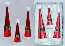 赤いクリスマスの服-白いプラシ天の織物のスカートが付いているガラス木の上層