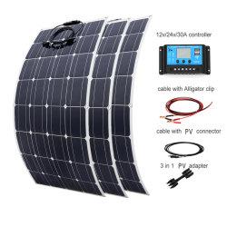 China 100W 18V 12V Mono Sunpower Semi Painel solar flexível para caminhonetes Barco Iate Caravana Sistema de 12 V