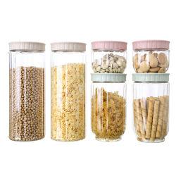De stapelbare Containers van de Opslag van het Voedsel van de Suiker van de Rijst van het Koekje van het Suikergoed van de Bussen van de Keuken Plastic met Deksel