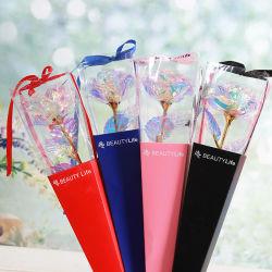24K Rose Blumen-glühendes sternenklares Kristallrosen-Goldfolien-Rosen-Geschenk