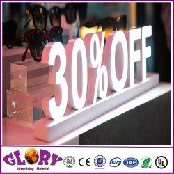 LED de iluminação de plástico Caixa de mesa Shop decoração vendas cartas