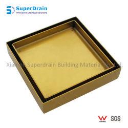 ブラシをかけられた真鍮カラー正方形のステンレス鋼のタイルの挿入床ドレン