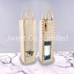 Garrafa de Vinho por grosso saco de juta com alça de bambu
