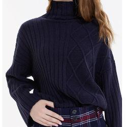 As mulheres de moda de Inverno de vestuário pulôver tricotado assimétrico Turndown camisolas