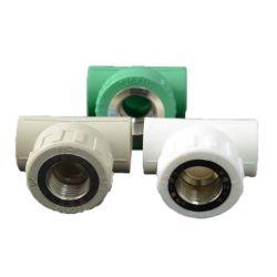 أنابيب بلاستيكية لبرغي إدخال PPR في الماء الساخن والبارد حجم التركيبة الملولبة لتركيبة PPR على شكل حرف T