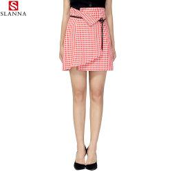 Schule-Mädchen-Lace-up Plaid-Kurzschluss-asymetrischer Check-Riemen-Minifußleiste