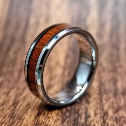 Anneau de carbure de tungstène de polissage de bijoux en bois incrusté