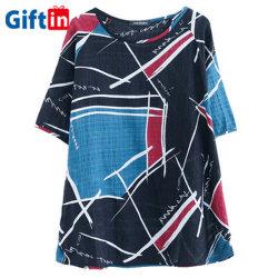 卸し売り上デザイン短袖のカスタム印刷の柔らかい麻の女性のTシャツの女性