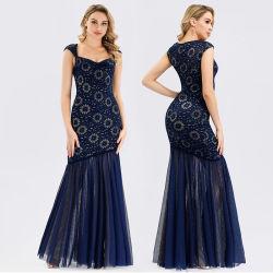 Dames Navy Blue Sleeveless Party Mesh Splicing Full-Length Maxi Sequin Mermaid Evening jurken Full-Dress