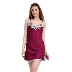 Les femmes de la Soie satin robes de nuit de l'été V-Neck femmes Vêtements de nuit pyjamas Lingerie sexy robes robes de nuit de la Dentelle robes de nuit pour les femmes