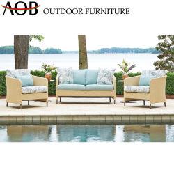 庭の屋外のテラスのホテルのホーム余暇の藤の柳細工の部門別のソファーの家具セット