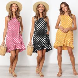 Sleeveless Polka Dot lâche robe évasée de vacances avec poche