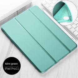 iPad PRO 11를 위한 3 폴더 Soft Silicone TPU Leather Smart Funda Case