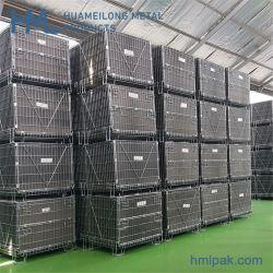 Plegado de metal de almacén Contenedor de malla de alambre grueso/jaula con la hoja de PP