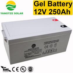 12V 250Ah pila seca de alta capacidad de inversor solar de batería de gel de ciclo profundo