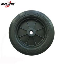 高品質は10インチPUタイヤ芝刈機のためのプラスチック縁が付いている車輪のチューブレスタイヤの穿刺の証拠の泡立った