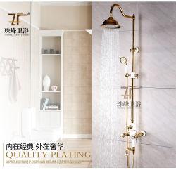 Salle de bains Articles sanitaires chinois de nouvelle conception de bleu et de céramique blanche poignée double douche de pluie en laiton Set (ZF-602)