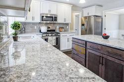Granit blanc/poli flammé dalle de pierre pour carrelage de sol/comptoir/Cuisine/Salle de bains/Flooring/mur