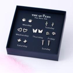 7pairs/Set女性のスタッドのイヤリング1個の週のイヤリングの幾何学的なふさのイヤリングの高品質の宝石類のギフト