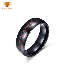 Vezel Van uitstekende kwaliteit 8mm de Rode en Zwarte Ring Tst8131 van de Koolstof van de Juwelen van de manier van het Wolfram van de Vezel van de Koolstof