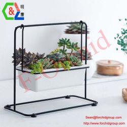 Ficha preta de vasos de plantas Stand Suporte de vasos de metal