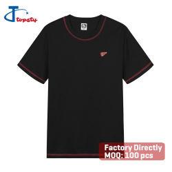 قميص مخصص ذو ياقة مستديرة وقمصان قصيرة من القطن الثقيل ذات ياقة مستديرة