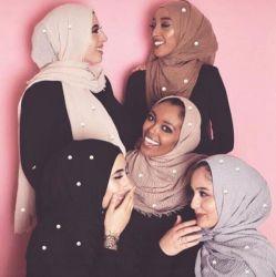 Las mujeres señoras ondulada llanura bufanda chal de algodón de la cabeza el Hijab musulmana perlas Perla de envoltura
