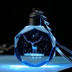На заводе дешевые Custom 3D-Blank жизнь вопрос стекла фонаря Crystal цепочке для ключей в подарок