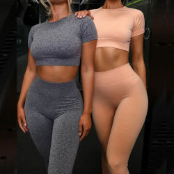 Тренажерный зал износа установите женщин спортивный бюстгальтер Leggings пользовательского Высокая поясная одежда фитнес-Sexy сшитых йога износа установите одежды