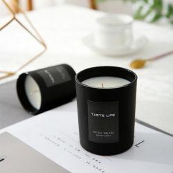 Простой черный стекло соевый воск ароматические свечи в подарок