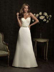 Eine Zeile Satin-Brautkleid Vestidos Schatz Embroid, das Hochzeits-Kleid bördelt