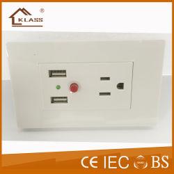 Fabricado na China saídas USB elétrico de 3 Pinos de tomadas de parede
