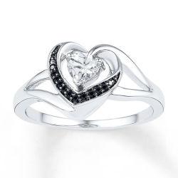 حلقة زفاف ماسية باللون الأسود في قلب CZ 925 مجوهرات فضية إسترليني
