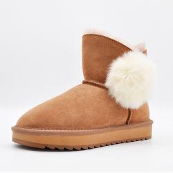OEM Schoenen van de Dames van de Winter van het Leer van de Manier de Duurzame voor Laarzen van de Sneeuw van de Worm van Vrouwen de Openlucht In het groot