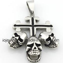 Bijoux personnalisés trois Croix de la tête du crâne Pendentif en acier inoxydable