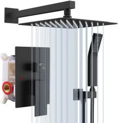 Bagno sistema doccia nascosto valvola e kit rivestimento nero opaco Set rubinetto doccia in ottone con testa a pioggia con palmare
