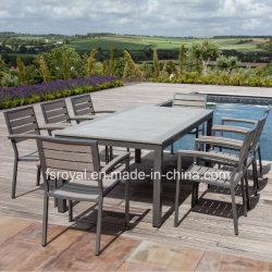 По современному садовой мебелью Home Отель Ресторан патио с садом устанавливает обеденный стол, алюминиевый плетеной пластмассовые деревянные Polywood стул для установки вне помещений