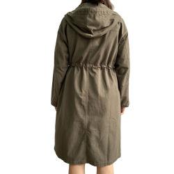 オリーブ色の女性のための長いジャケットのダスターコートのフード付きの長いコート