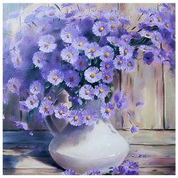 Flores de color púrpura Bodegón cordones de la plaza del diamante de la Pintura La pintura de arte del mosaico
