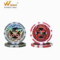 高品質の多彩な金属のポーカー用のチップレーザーのステッカーのカジノは3Dレーザーのラベルのあたりで鋳造する