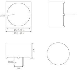 27x27мм светодиодный индикатор бар с легкими области Dia 24.5мм