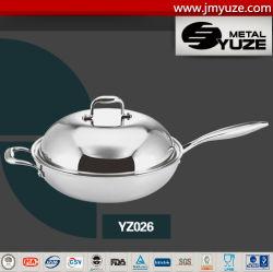 3-Ply Wok en acier inoxydable avec couvercle grand dôme, saute Pan, wok chinois, ustensiles de cuisine, ustensiles de cuisine