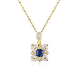 Collana Pendant di pietra della CZ dell'azzurro d'argento placcata oro di lusso S925