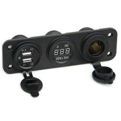 3 in 1 Zigaretten-Feuerzeug-Kontaktbuchse + in 3.1A verdoppeln USB-Energien-Adapter-Aufladeeinheit + Voltmeter LED-Digital