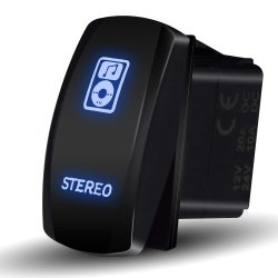 Barre d'éclairage à LED stéréo laser + commutateur à bascule de commutateur à bascule, 20A 12V, bleu