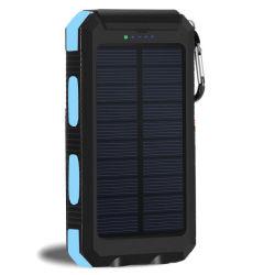 デュアル USB パワーバンク 30000mAh 防水ソーラーバッテリ外部ポータブル充電 LED ライト付き